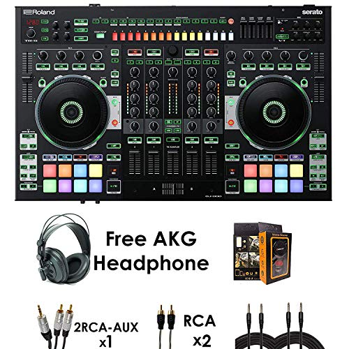 Roland PKG DJ-808 Four-channel, Two-Deck Serato DJ Controller - Package Bundle with 2x RCA Cable, 1x RCA-AUX Cable, 2x QTQ Cable, and Free Black Headphones & Mobile Bracket
