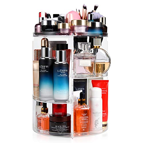 Makeup Organizer 360 Degree Rotating Large Capacity Cosmetic Storage Box 7 Layers Adjustable Shelf Height, Fits Makeup…