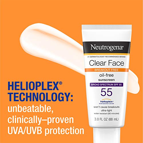 Neutrogena Clear Face Liquid Lotion Sunscreen for Acne-Prone Skin, Broad Spectrum SPF 55 with Helioplex Technology, Oil… 4