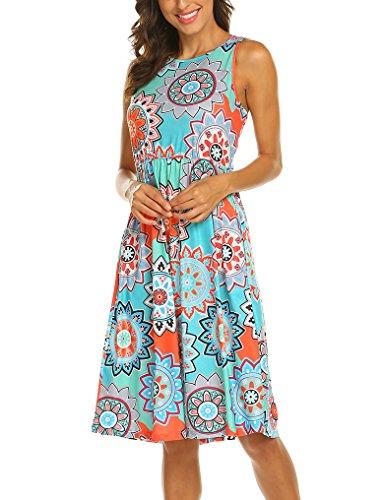 Jungle Sundress - OURS Sleeveless Sundresses for Women Ethnic Flower Pocket Dress Blue XXL