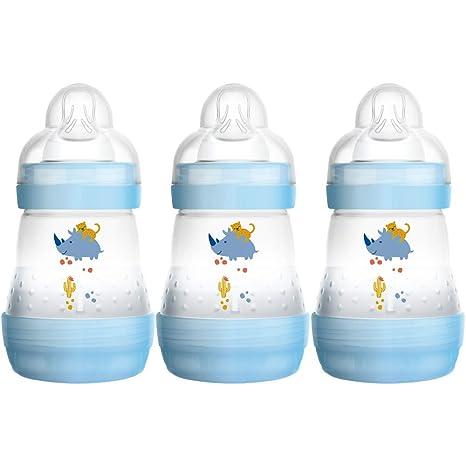 Mam FB0403B - Pack de 3 auto-esterilización y botellas contra el cólico de 160 ml, Color azul/verde