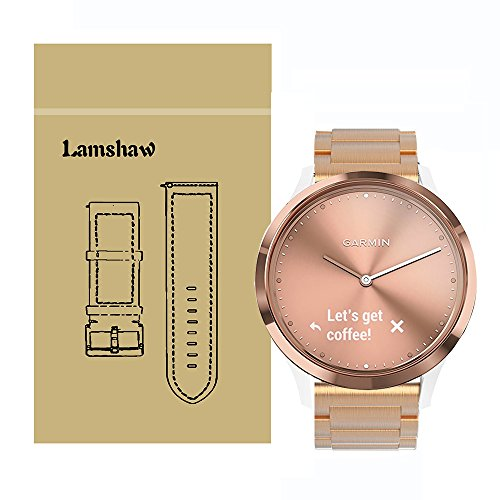 Lamshaw Smartwatch Bands for Garmin Vivomove HR, Stainless Steel Metal Replacement Straps for Garmin Vivomove HR/Garmin Vivoactive 3 Band (Steel Metal_Rose Gold)