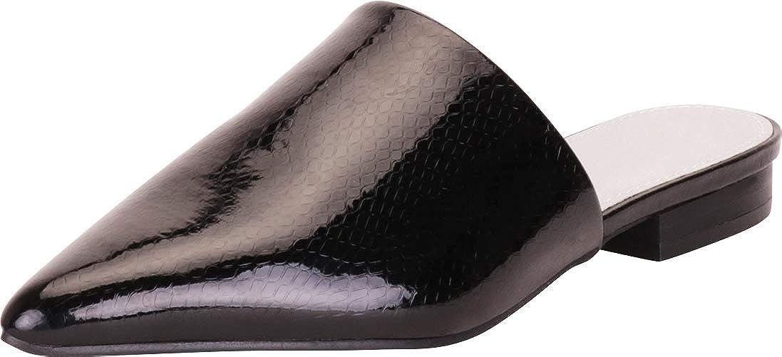 Black Snake Patent Pu Cambridge Select Women's Pointed Toe Slip-On Low Block Heel Mule