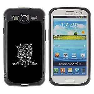 All-Round híbrido Heavy Duty de goma duro caso cubierta protectora Accesorio Generación-II BY RAYDREAMMM - Samsung Galaxy S3 I9300 - Army War Soldier Skull Special Forces Sign Black