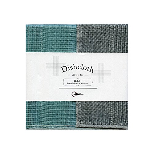 Nawrap Binchotan Charcoal Dishcloth, Naturally Antibacterial, Turquoise X Charcoal