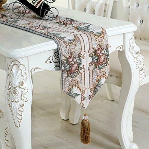 Corredor Mesa con Borlas Flores Bordadas Upscale Home Decor, Decora Tu Mesa De Comedor,30 * 210 Cm,White