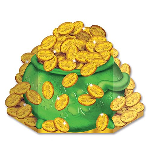 Pack of 6 St Patrick's Day Pot-O-Gold Stand-up Cutout Decorations 3.5' ()
