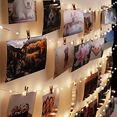 B&R Hanging Photo Display with Lights - DIY Collage Picture Frame - Gallery Wall with LED - Photo Organizer with Clothespins - Dark Natural Wood Wall Mount