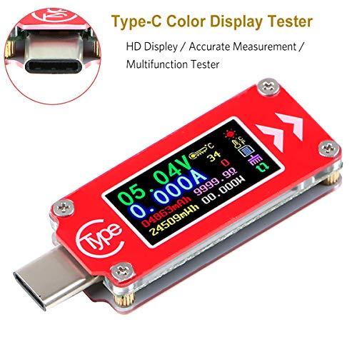 USB Power Tester, Type-C USB Meter Tester, USB Multimeter Voltmeter Voltage Tester, 0-4A 3.7-30V USB Current Power Meter Tester, 0.96 inch IPS HD Display Multifunction Voltage Tester TC64