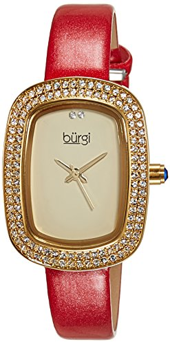 Burgi Women's BUR111RD Crystal Accented Yellow Gold Swiss Quartz Watch with Champagne Dial and Red Leather Strap