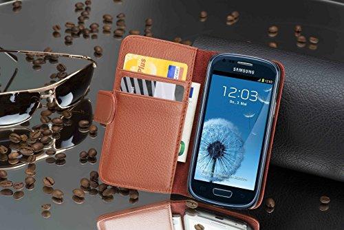 Cadorabo - Funda Samsung Galaxy S3 MINI (I8190) Book Style de Cuero Sintético en Diseño Libro - Etui Case Cover Carcasa Caja Protección con Tarjetero en BURDEOS-VIOLETA MARRÓN-COGNAC