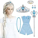 Vicloon Elsa Princess Dress Up Accessories, Crown Wand Blue Gloves Tiara Wig Necklace Ring Earrings Set of 7