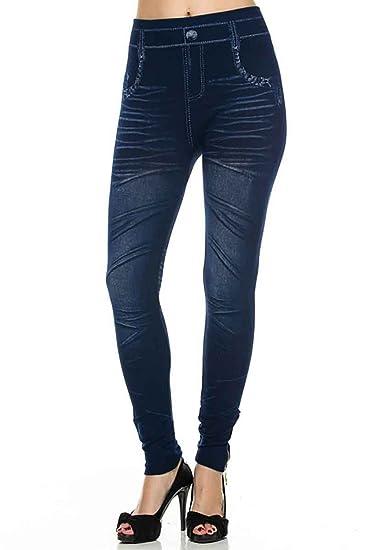 1377f172a20 Simplicity Women s Denim Printed Faux Jeans Seamless Full Length Leggings