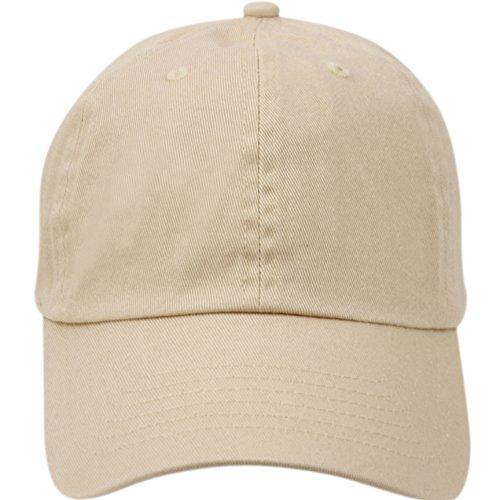 Washed Low Profile Cotton and Denim Baseball Cap (A KHAKI),One (Khaki Baseball Cap)