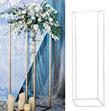 EDIONS Wedding Flower Column Display Metal Standing Flower Vase Stand Geometric Design Flower Pot Plant Stand As Road Lead Flower Stand for Wedding Party Birthday Events(1pc,Gold)