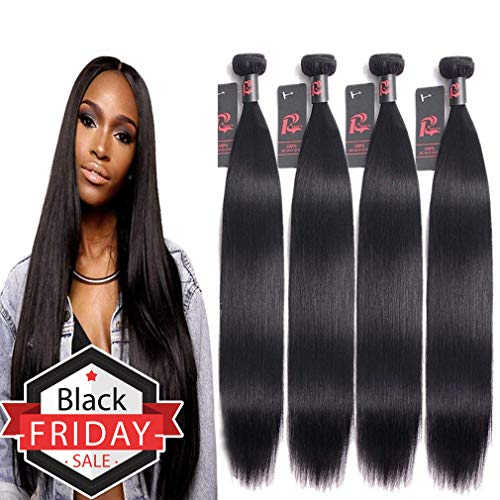 (8A Malaysian Virgin Hair (14 16 18 20) Straight Hair Bundles Remy Human Hair Weave Extensions 4 Bundles 100% Unprocessed Natural Black Color)