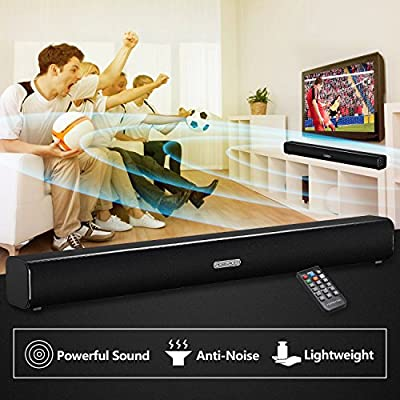 Soundbar Bluetooth TV Sound Bar Wired and Wireless 20W Speaker for TV PC Cellphone & Tablets, with Remote Control (24 Inch)