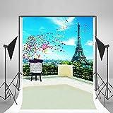 Laeacco 5x7ft Vinyl Photography Backdrop Romantic Paris Eiffel Tower Scenery 1.5*2.2m Background Studio Props