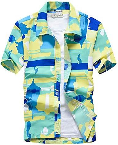 LFNANYI Hipster Estampado Floral de los Hombres Camisa Hawaiana Verano Nuevo Slim Fit Camisa de Manga Corta de los Hombres de Playa Camisas Casuales Hawaii: Amazon.es: Deportes y aire libre