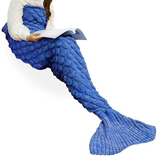 Handmade Knitted Mermaid Tail Blanket Crochet ,T-tviva All Seasons Warm Bed Blanket Sofa Quilt Living Room Sleeping Bag for Kids and Adults (72.8×35….