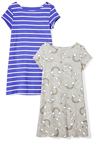 Amazon Brand - Spotted Zebra Girls' Toddler 2-Pack Knit Short-Sleeve A-Line T-Shirt Dresses, Rainbows, 3T ()