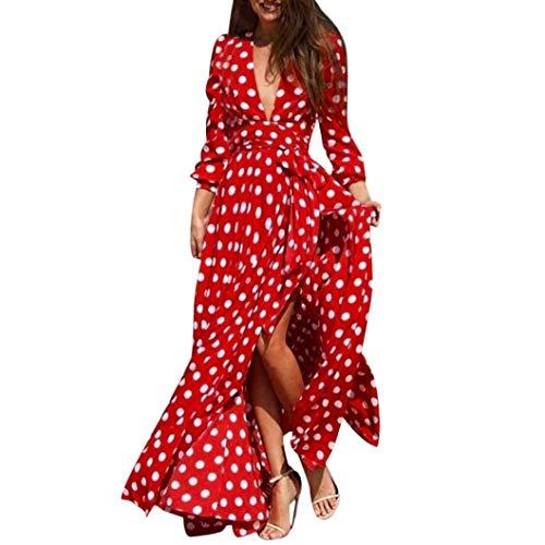 Robes Femmes Long Rouge Cocktail Robe Jupe Zippers Bohême Mode Parties Sleeve Fendue Bandage Polka Col Deep Slim Soirée En Chic Impression Dot Élégant De Casual Adeshop V Beach EZpxwTqgC
