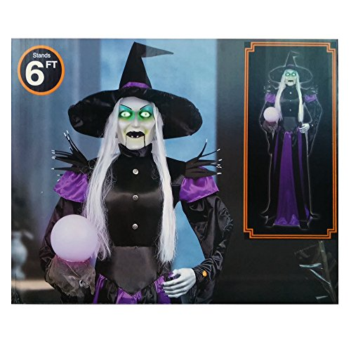 [6ft tall Animated Lifesize Talking Witch with Mystery Light Orb Halloween Prop] (Animated Witch)