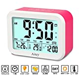 Digital Alarm Clock, Aitey Talking Clock with 3 alarms, Optional Weekday Alarm, Intelligent Noctilucent & Snooze Function, Month Date & Temperature Display for Adults, Kids & Teens (Pink)