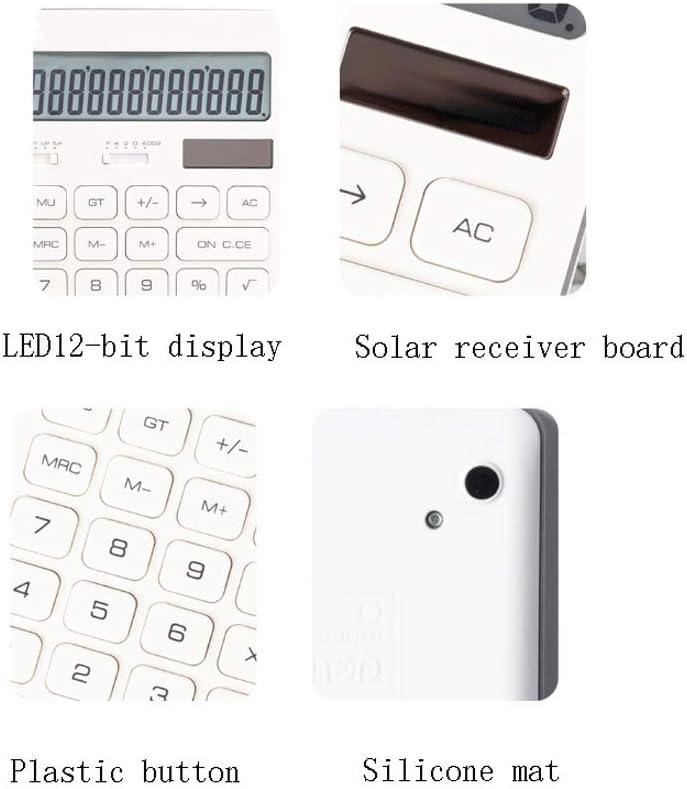 Color : White-a Schermo LED a doppio potere Calcolabile Display HD digitale a 12 bit Protezione chiara Calcolatrice dellocchio Calcolatore dellesame solare studente