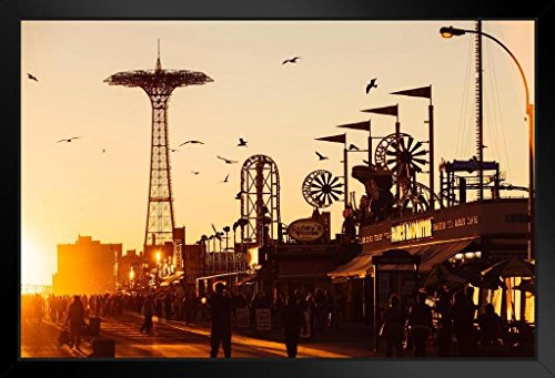 Coney Island Boardwalk Brighton Beach at Sunset Photo Art Print Framed Poster 20x14 inch