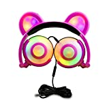 Ururtm Bear Ear Headphones, Blink Foldable Over-Ear Noise Isolating Headphone Gaming On-ear Kids&Adult Headsets with Microphone for ipad, laptop, tablets and cellphones… (pink)