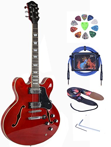 full size hollow body electric guitar with belt cable and picks transparent red buy online. Black Bedroom Furniture Sets. Home Design Ideas