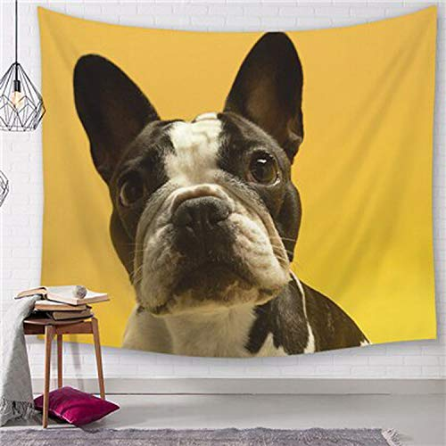 Fostudork Cute Bulldog Wall Hanging Tapestry Hippie Boho Pug Bull Terrier Decorative Wall Tapestries Bad Dog Wall Carpet Throw Rug Blanket,1,200cmx150cm
