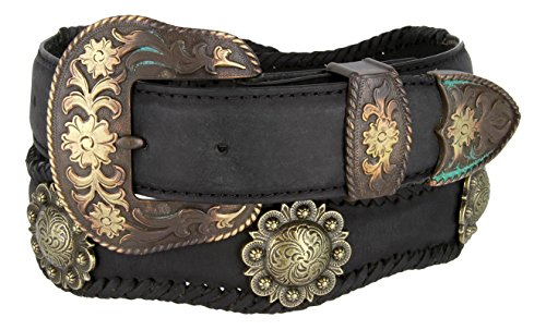 Mens Brass Classic Berry Concho Scalloped Genuine Leather Belt(Black,32)