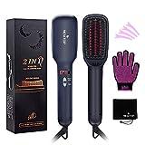 MEXITOP Ionic Hair Straightener Brush Comb - MCH Anti Static Ceramic Heating Bursh