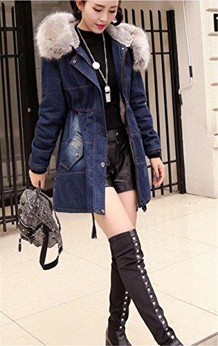 Cappuccio Sintetica Jeansjacke Giacca Caldo Denim Pelliccia Jean Giù Con Womens In Invernale Wlittle Cappotti Blu wqXEFFa8