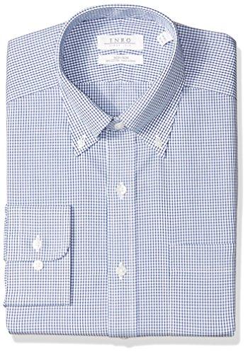 Enro Men's Combs Check Non-Iron Classic Fit Dress Shirt, Navy, 160 x 34/35
