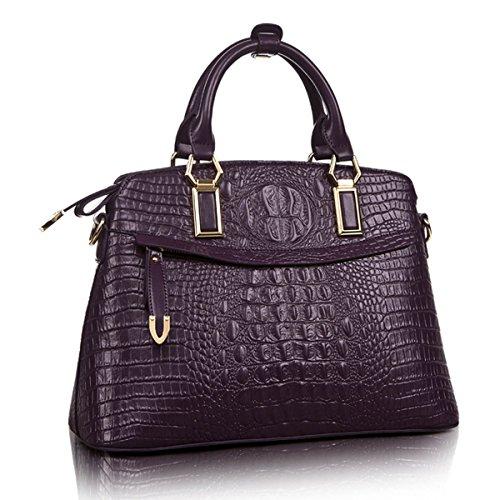 KAXIDY Womens Ladies Designer Crocodile Leather Style Tote Satchel Shoulder Bags Handbags(Deep (Deep Purple Leather Handbags)