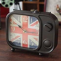 fwerq The nostalgia retro alarm clock, TV, alarm clock, furniture home furniture, creative crafts gifts,Black