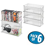 mDesign Video Game or DVD Media Entertainment Basket - Pack of 6, Clear