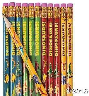 24 Piece Set Dino Themed Wooden Pencils for Party Favor School Classroom Supplies Dinosaur Pencils