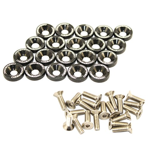 JDMSPEED 20 Pcs Black CNC Billet Aluminum Fender Washer Engine Bay Dress Up ()
