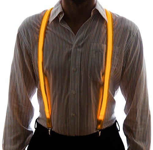 Neon Nightlife Men's Light Up LED Suspenders, One Size, (Tron Costume Light Up)