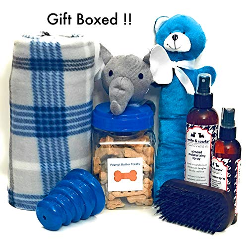 Wolfe & Sparky Gift Boxed Deluxe Blue Dog Gift Includes a Classy Dog Blanket, 2 Bottles of Wolfe & Sparky Natural Grooming Products, Healthy Peanut
