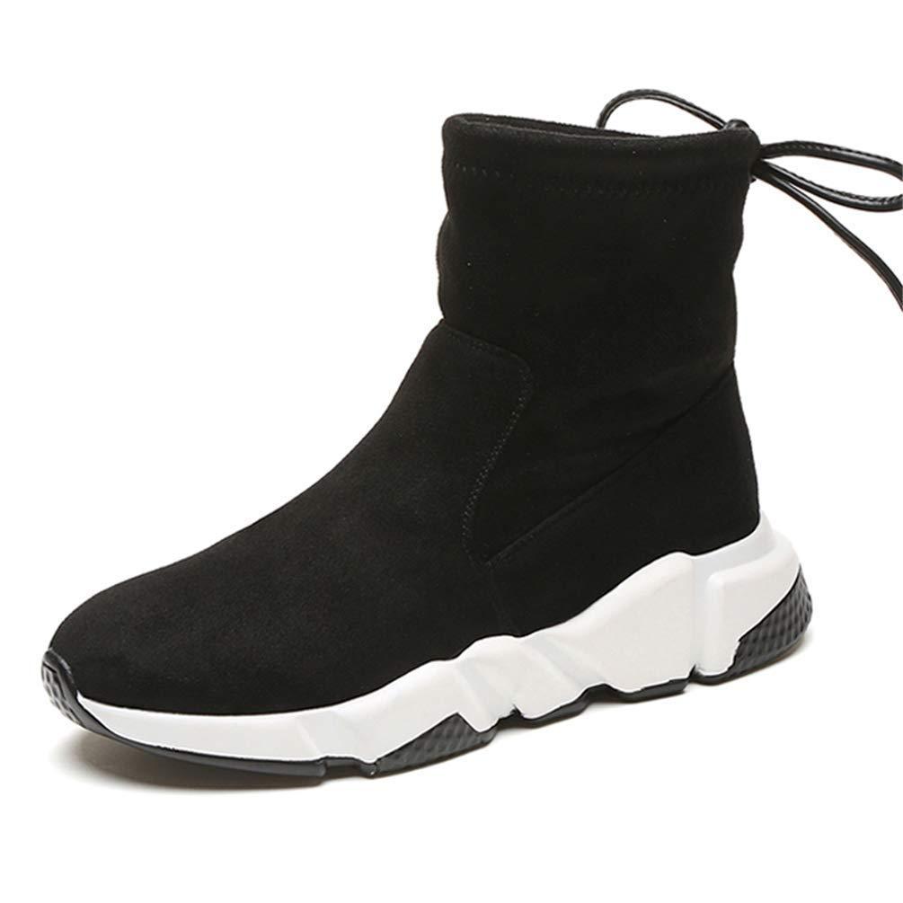 ZHRUI Frauen-Winter-Schuh-Damen über Knie Martin-Motorrad schnüren Sich Oben hohe Stiefel (Farbe   Schwarz Größe   7.5 UK)