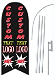 Custom Printed 2-sided (One Design) 12-foot Feather Flag - Printed With Your Text and Graphics - Complete Set Includes Two-sided Custom Flag, Heavy-Duty 15-foot Pole, and Ground Spike