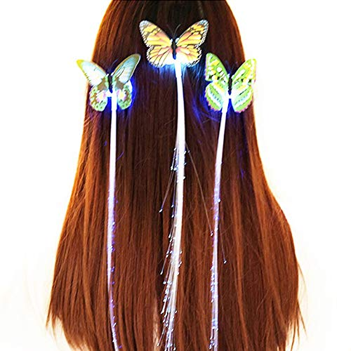 AgoHike Invitations Clip Light-up Flashing Barrette Fiber Optic Hair Led Headwear ()