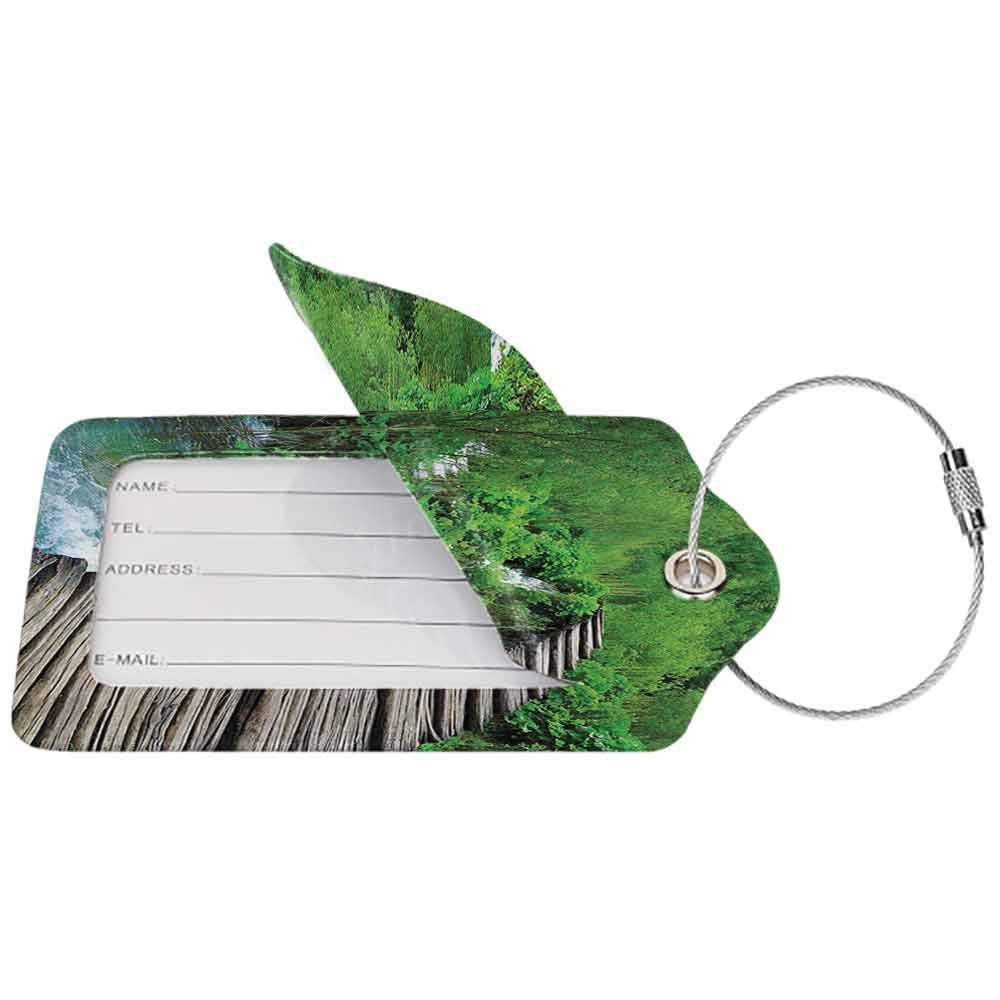 Durable luggage tag House Decor Path And Waterfall Board in Croatia Cascade Garden Lake Fence Peaceful View Unisex W2.7 x L4.6