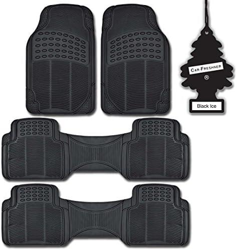 BDK All Weather Black Diamond Rubber Non-Slip Ridged Truck SUV Van Floor Mats 4 Pieces + Blackice