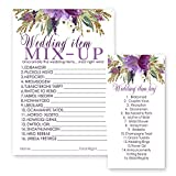 Purple Floral Wedding Word Scramble Game Cards 25 Pack